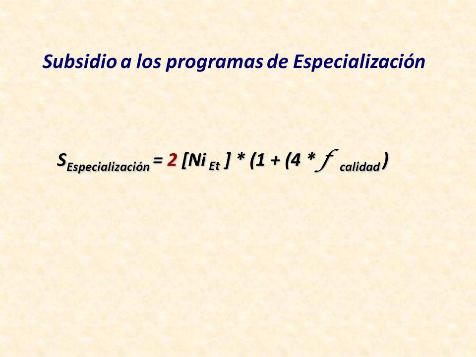 SEspecialización = 2 [Ni Et ] * (1 + (4 * f calidad )
